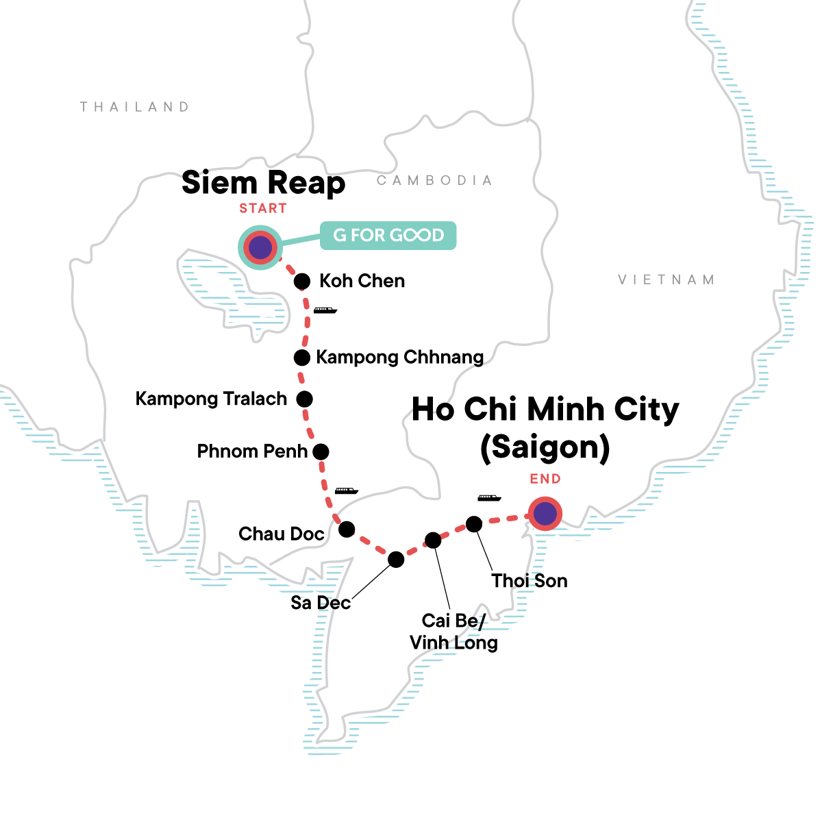 Mekong River Experience – Siem Reap to Ho Chi Minh City Map