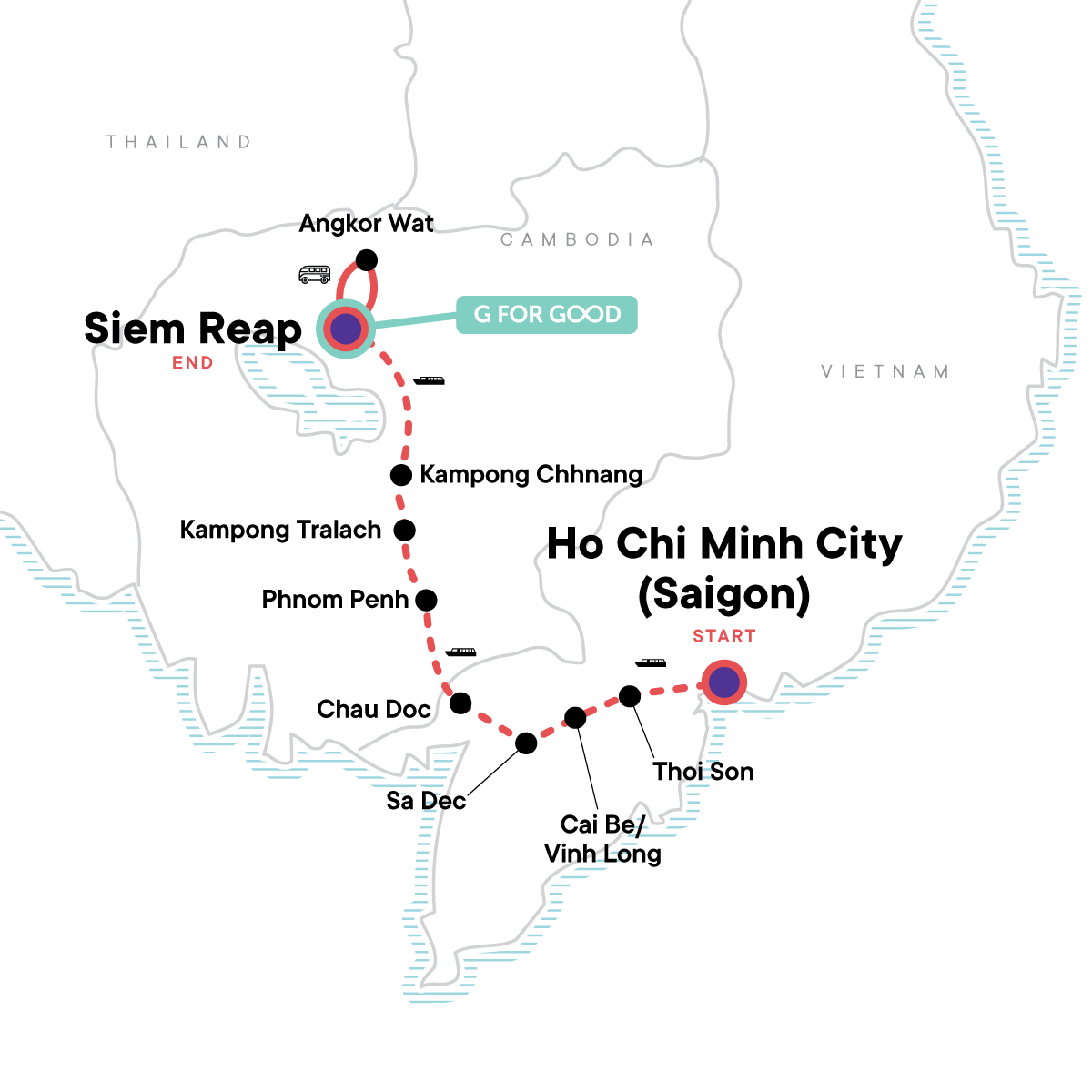 Mekong River Encompassed – Ho Chi Minh City to Siem Reap Map