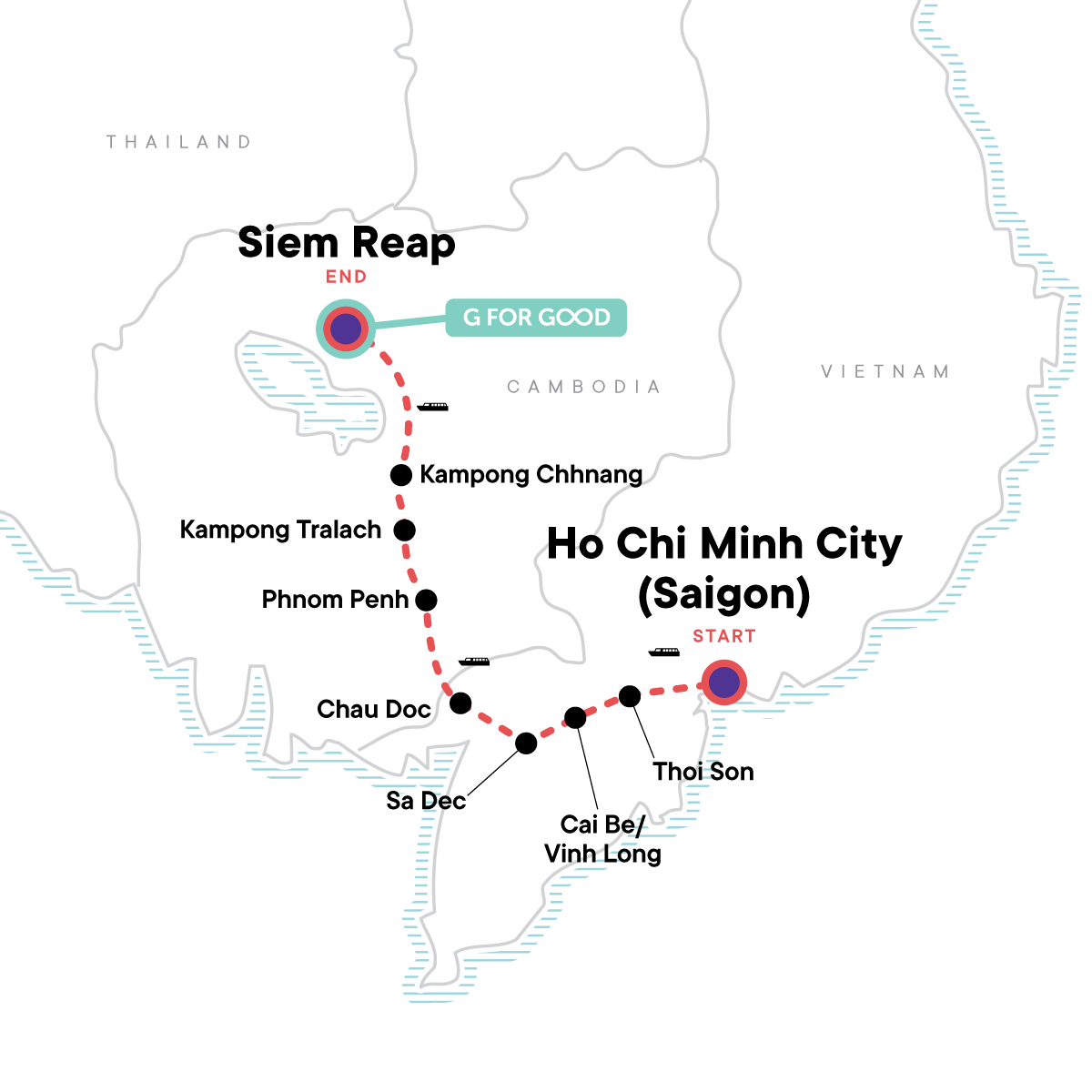 Mekong River Experience – Ho Chi Minh City to Siem Reap Map