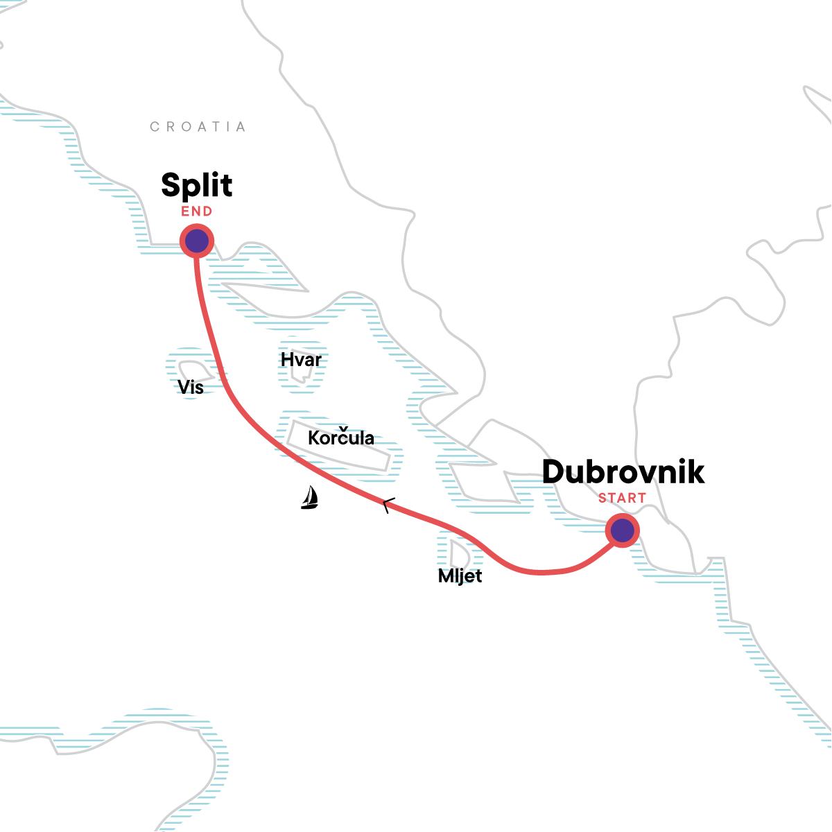 Sailing Croatia - Dubrovnik to Split Map