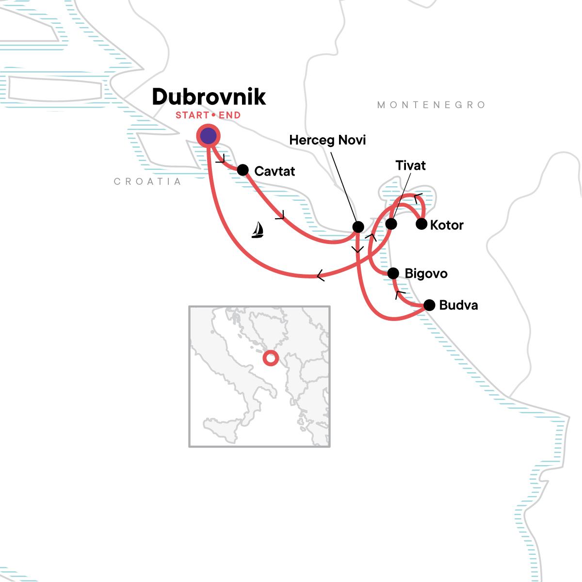 Montenegro Sailing - Dubrovnik to Dubrovnik Map