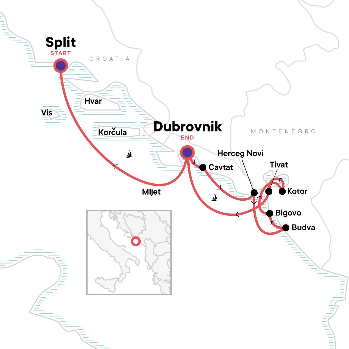 Dalmatian Coast & Montenegro Sailing Map
