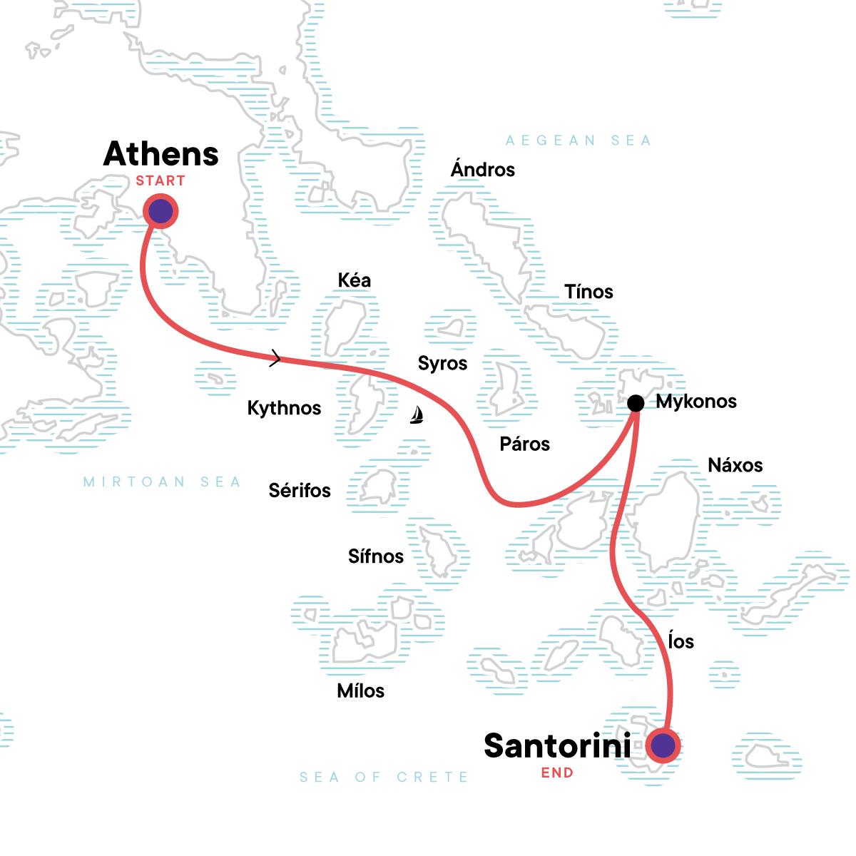 Sailing Greece - Athens to Santorini Map