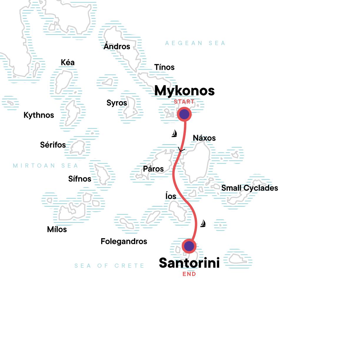 Sailing Greece - Mykonos to Santorini Map