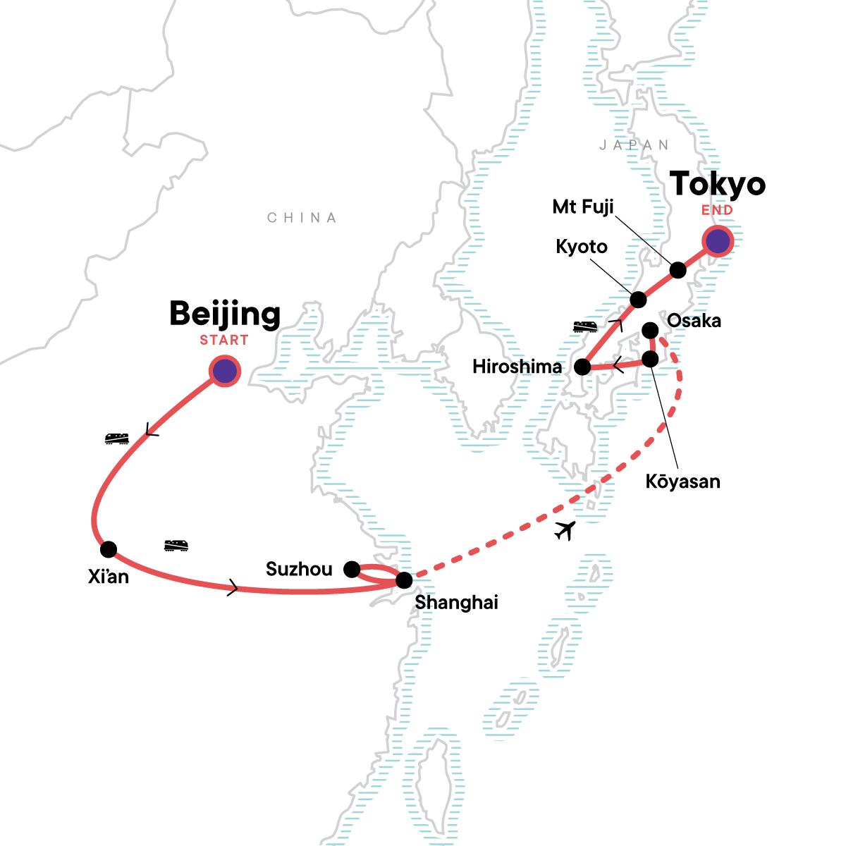 Ancient Empires—Beijing to Tokyo Map