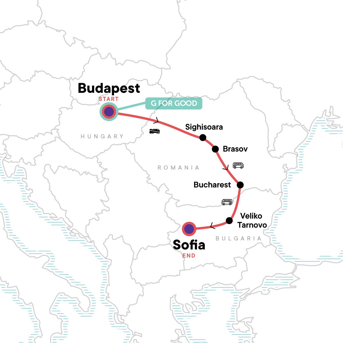 Budapest to Sofia Adventure Map