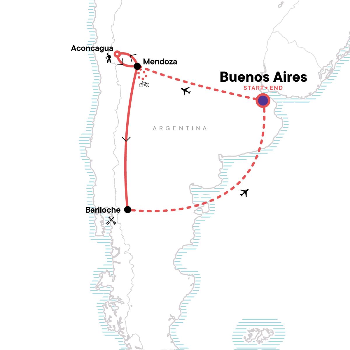 Mendoza and Bariloche Multisport Map