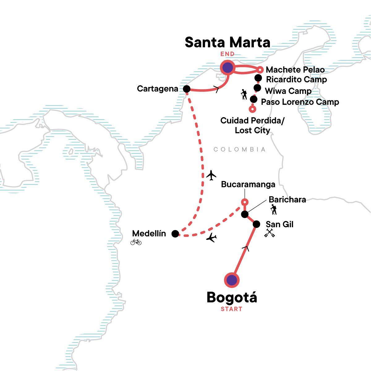 Colombia Multisport & Lost City Trek Map
