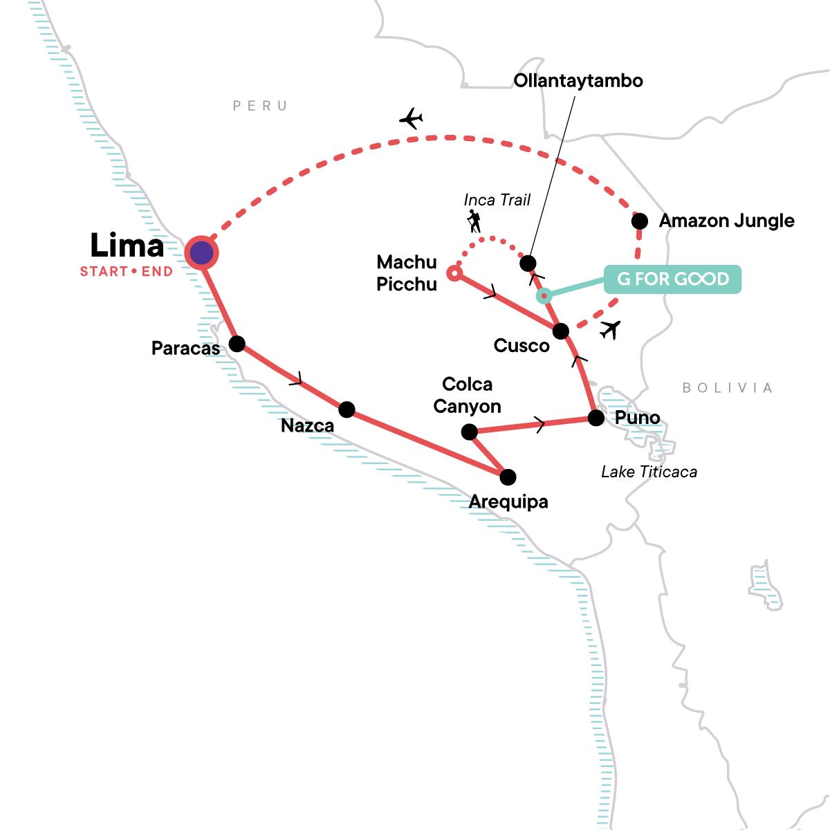 TailorMade Peru: Andes & Machu Picchu Map