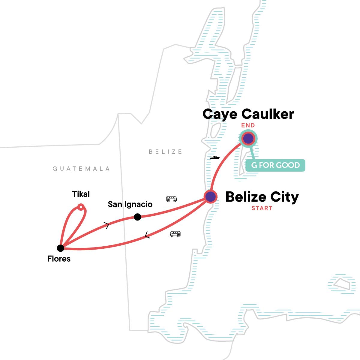 Classic Belize & Tikal Map