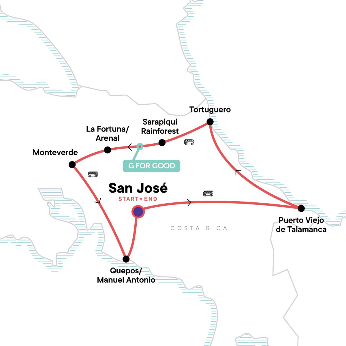Costa Rica Adventure Map