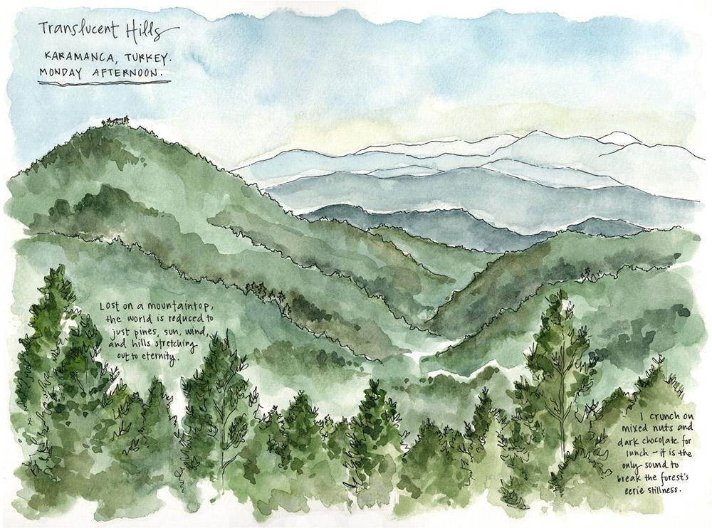 View of the hills in Karamanca, Turkey.