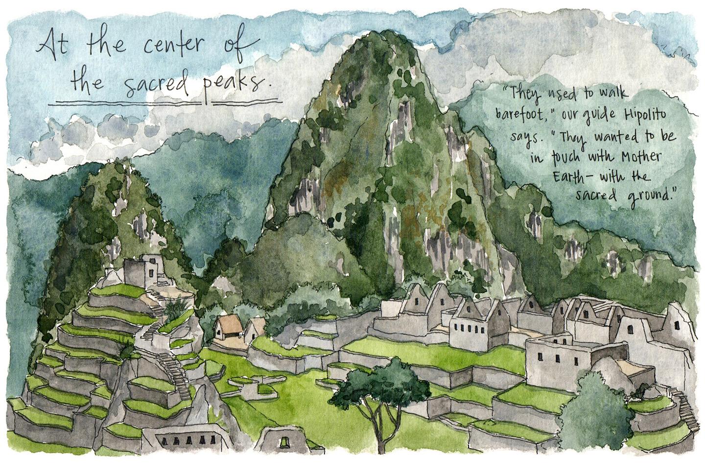 Sketching just beyond the main gate of Machu Picchu.