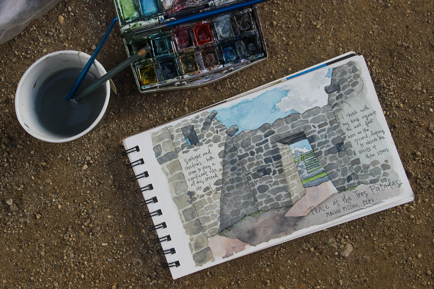 A ground-level sketching session at Machu Picchu.