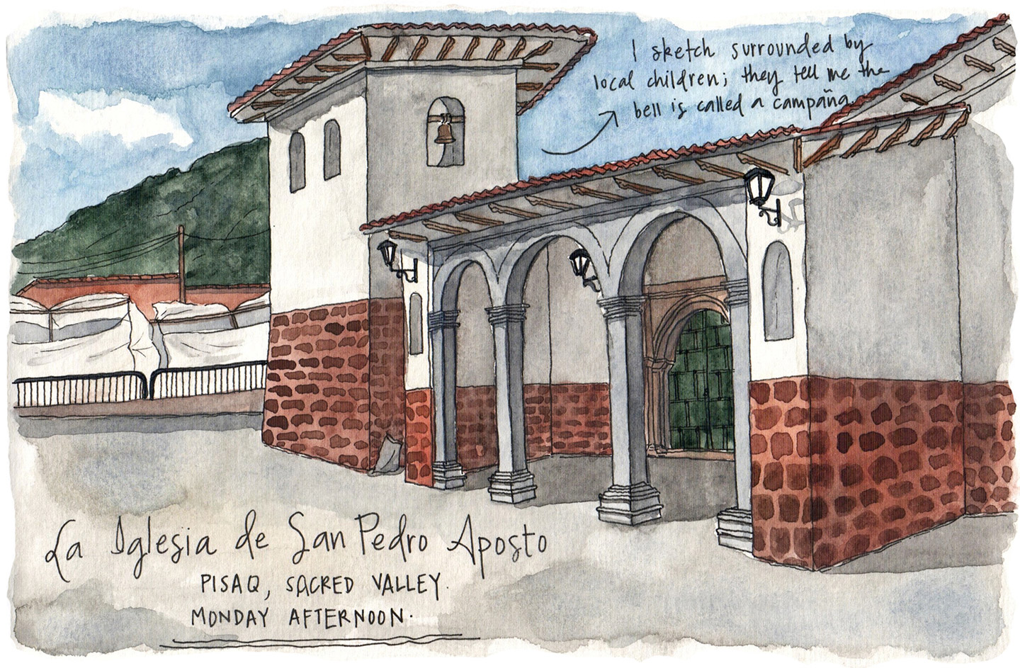 Sketching in the historic main square of Písac…