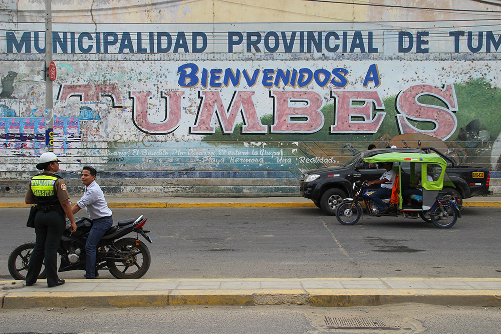 In the city of Tumbes, near Peru's border with Ecuador.