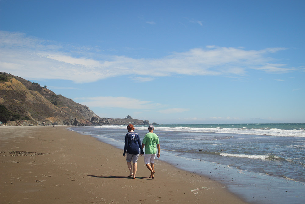 Soaking up the solitude and sunshine of Stinson Beach.