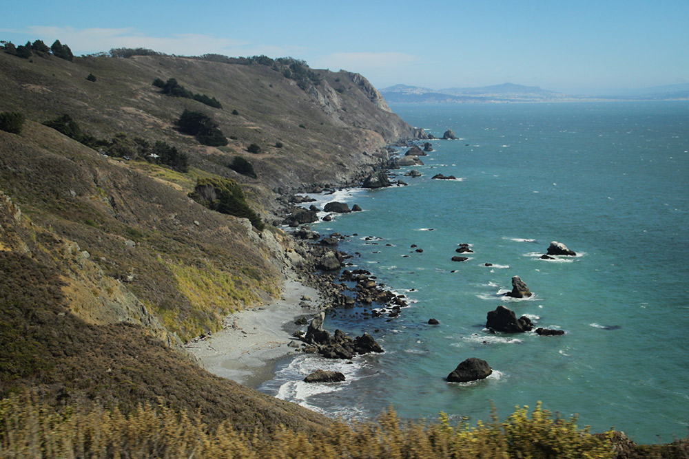 Northern California's unique blend of rugged hills and coastline.