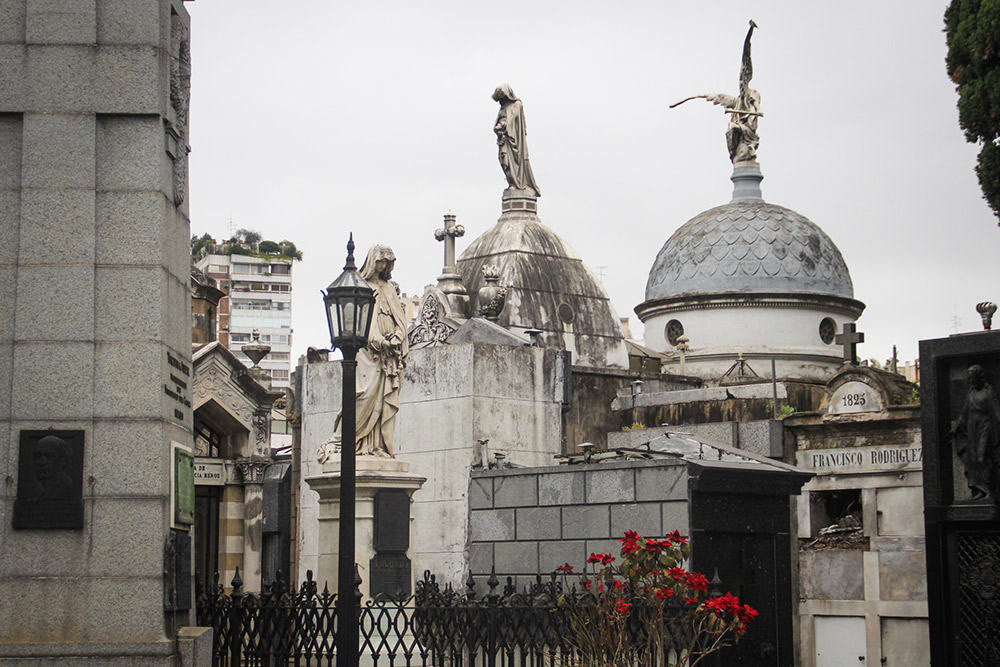 The cemetery's skyline is defined by cupolas and statues.
