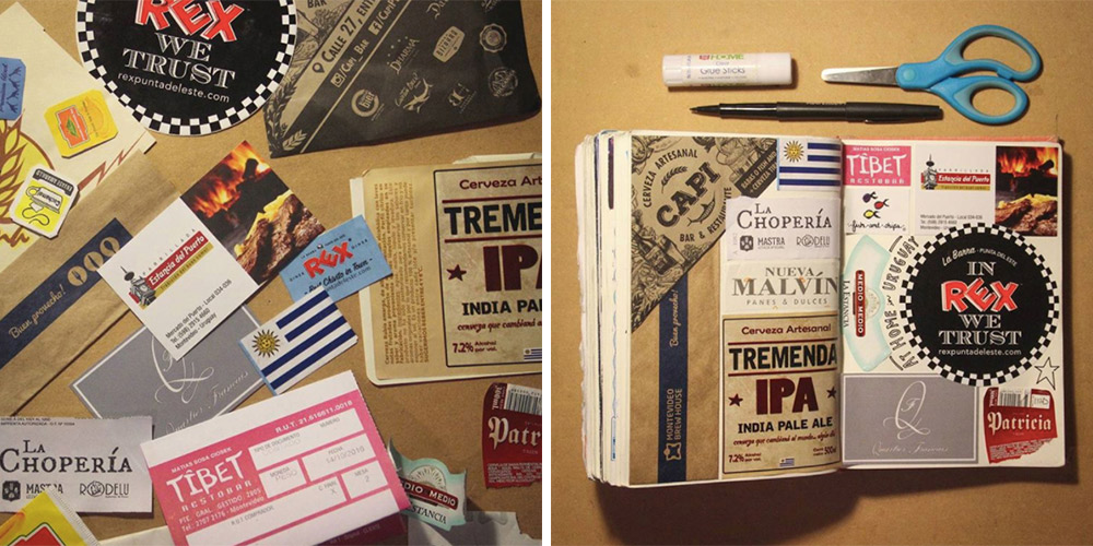 Collage, before and after — transforming ephemera from around Montevideo, Uruguay, into creative memories in my travel journal.