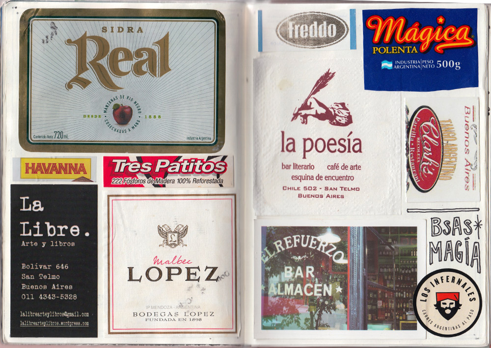 Business cards and labels from wine and cider bottles were key pieces of inspiration for this collage from Buenos Aires.