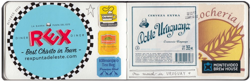 A collage of memorabilia from my first month in Uruguay.