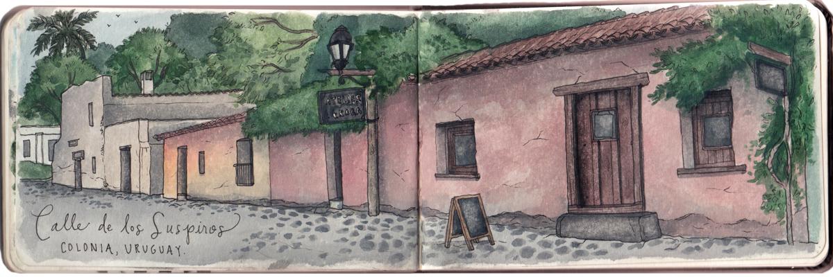 Sketching along the oldest street in Colonia, Calle de los Suspiros.