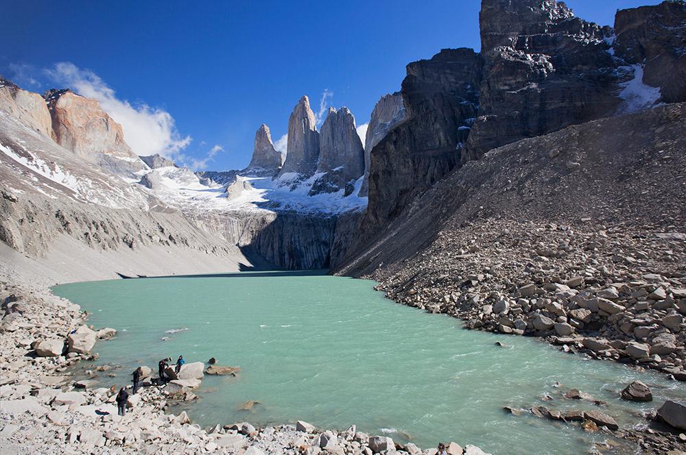 The granite peaks of Torres del Paine reach as high as 2,500m or 8,200 ft.