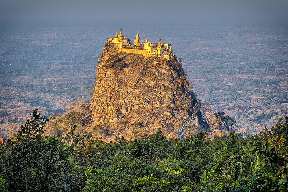 The view of Tuang Kalat Temple from Mt Popa.