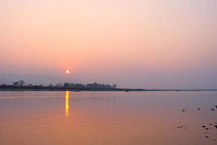 A sunset over Chitwan National Park.