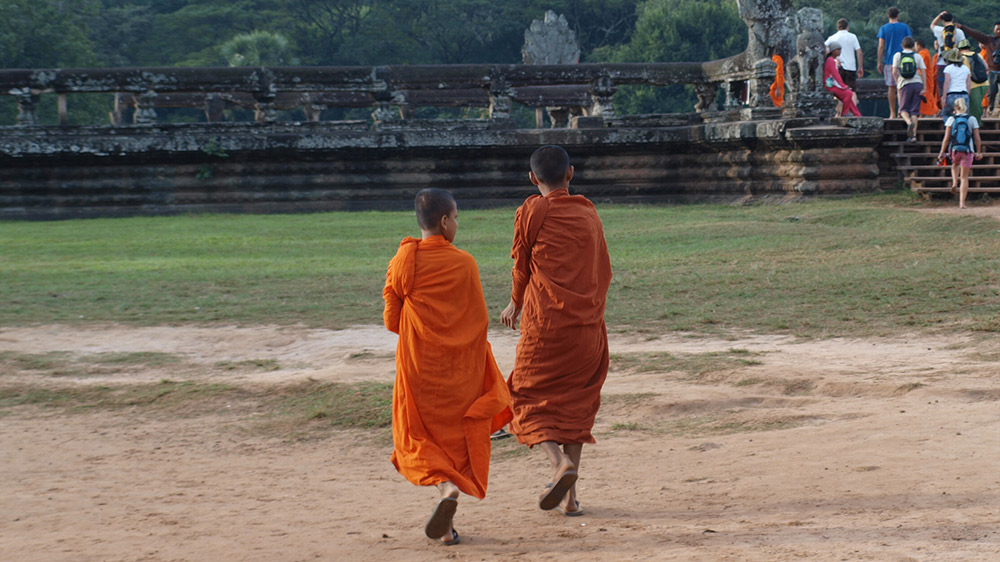 Young monks on the temple grounds.