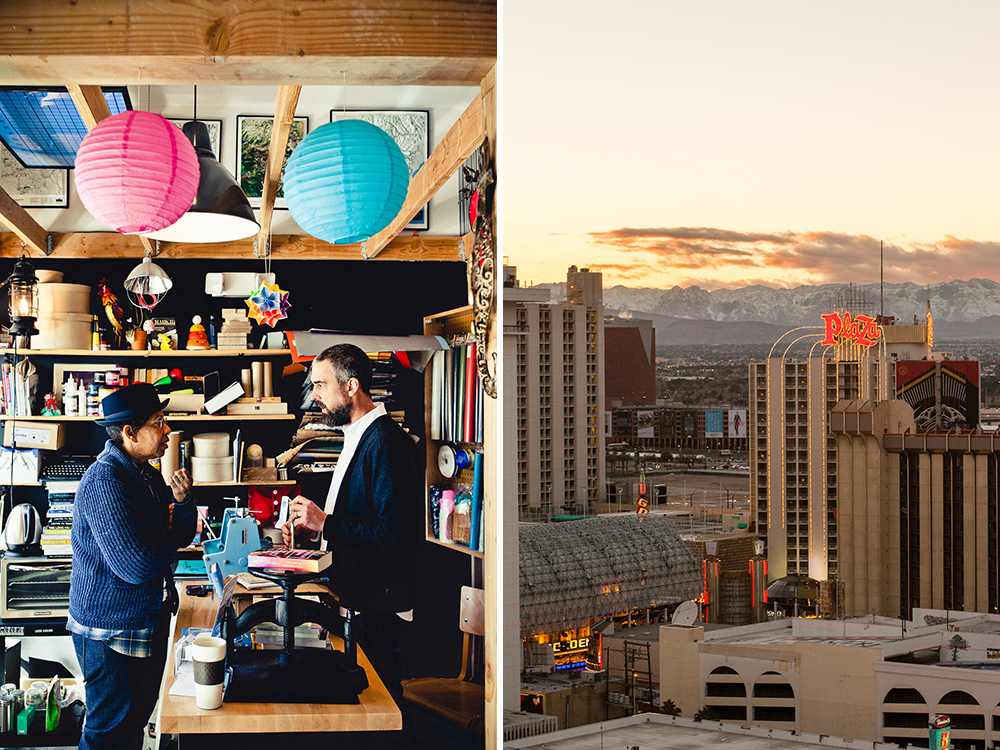 From left: Natalie Young, founder of the popular downtown eatery Eat with Drew Cohen, founder of Las Vegas's only independent book shop, Writer's Block; a view of downtown Las Vegas at sundown.