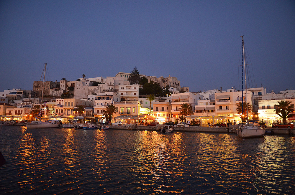 Evening takes hold in the Greek islands.