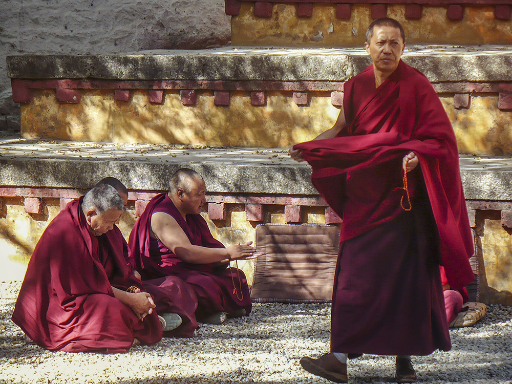 Monks gather in Tibet.