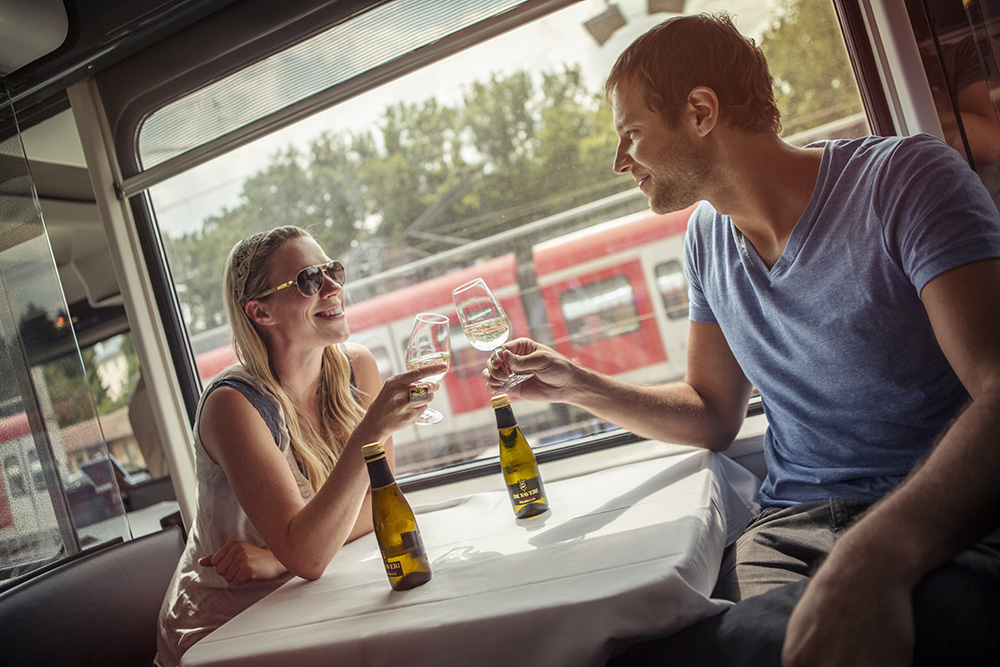 Great food and drink is often available for purchase on long train rides.