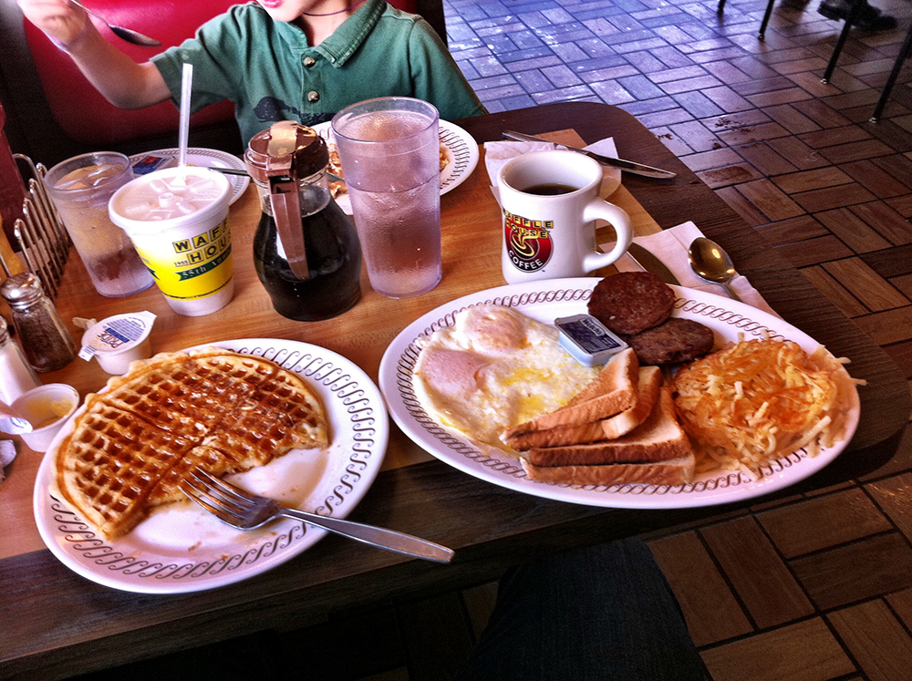 Waffle House's greasy-spoon breakfast is comfort food at its...greasiest. Photo courtesy of Tony Steward.