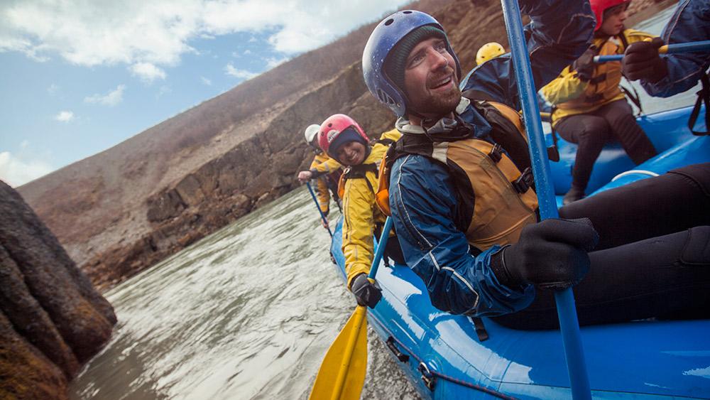 Kayaking on the Hvítá River.