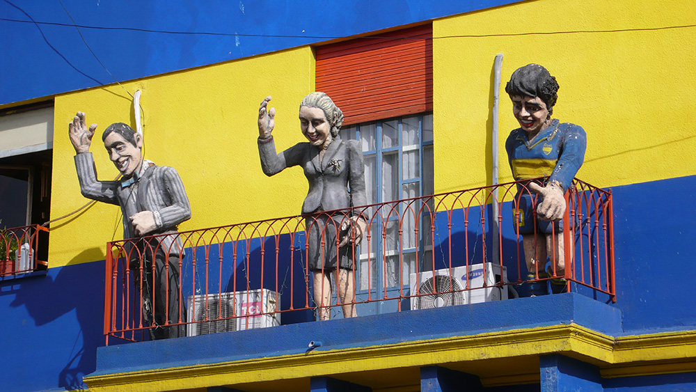 Statues of Juan Perón, far left, and Eva Perón, centre, in downtown Buenos Aires. That's Diego Maradona on the right. Photo courtesy of John S.