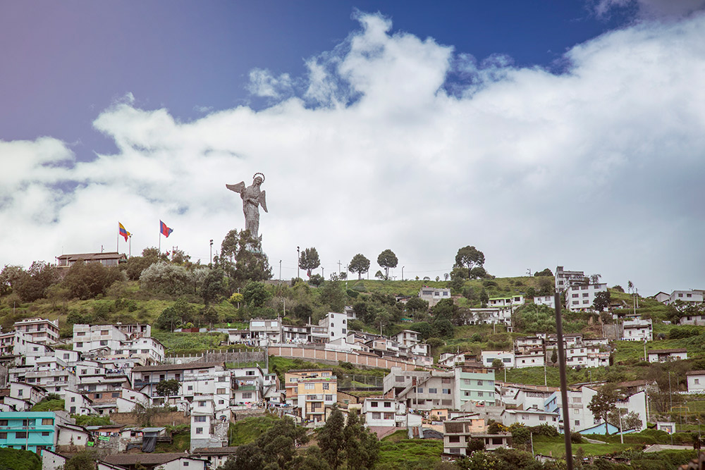 The statue of the Virgin El Panecillo watches over the city.