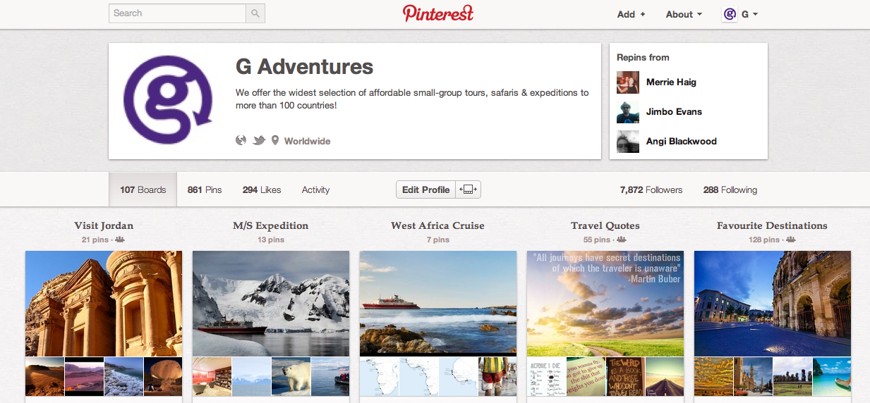 We love using Pinterest at G Adventures!