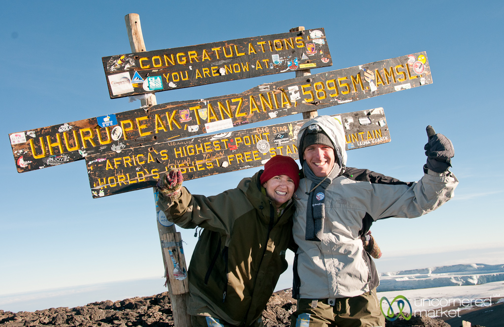 Not looking pretty, but so proud of each other at the top of Mt. Kilimanjaro.