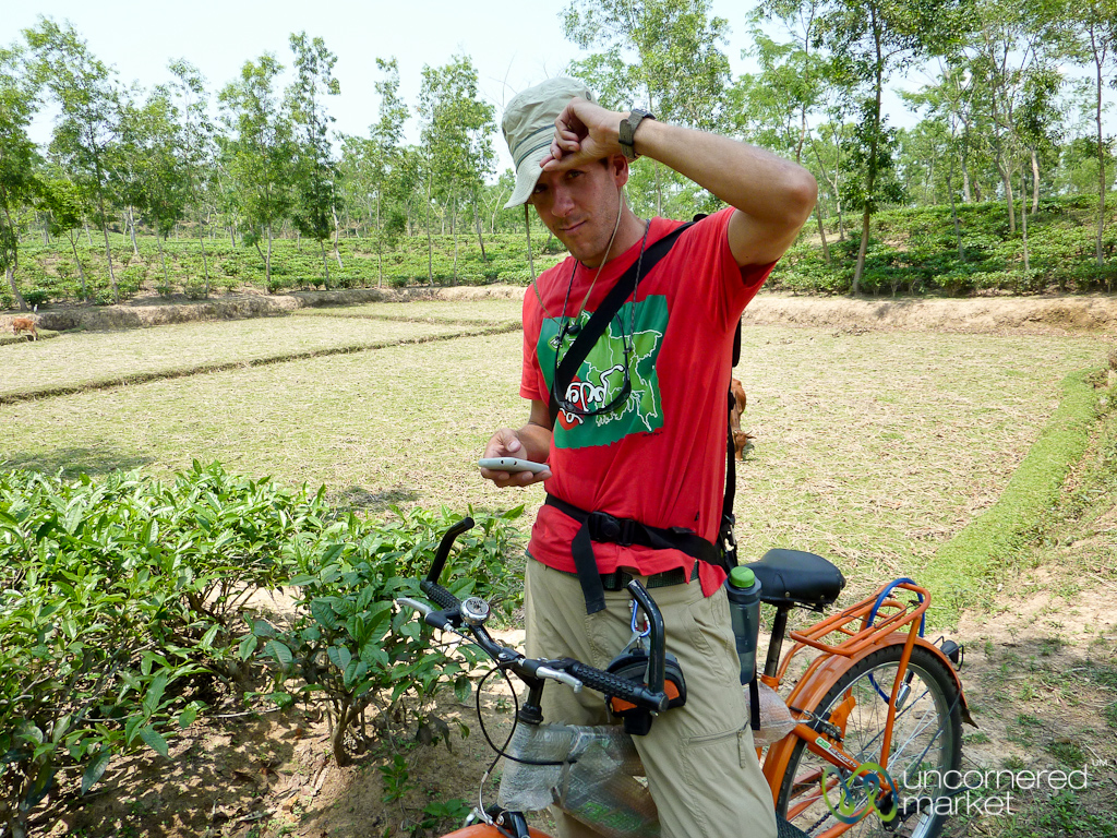 Lost as usual, trying to find our way on Google Maps, on a bike ride in northern Bangladesh.