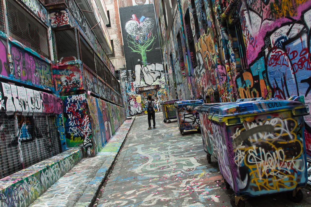 Getting lost in Melbourne's back alleys filled with graffiti and street art.