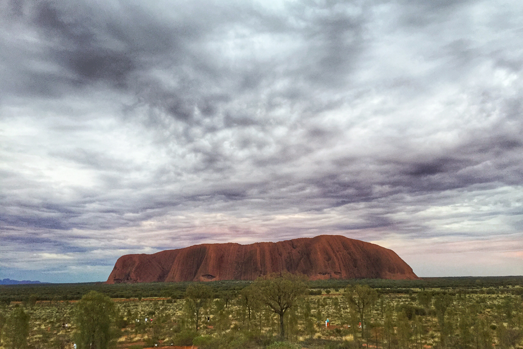 Up early to catch the first light on Uluru at sunrise.