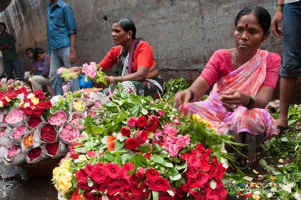 Flower mounds at the Dadar Flower Market.