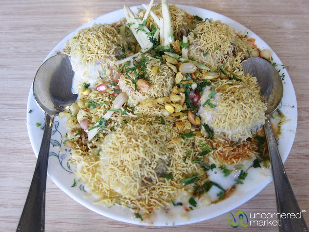 Dahi Patata Puri, a variation of pani puri. So incredibly delicious.