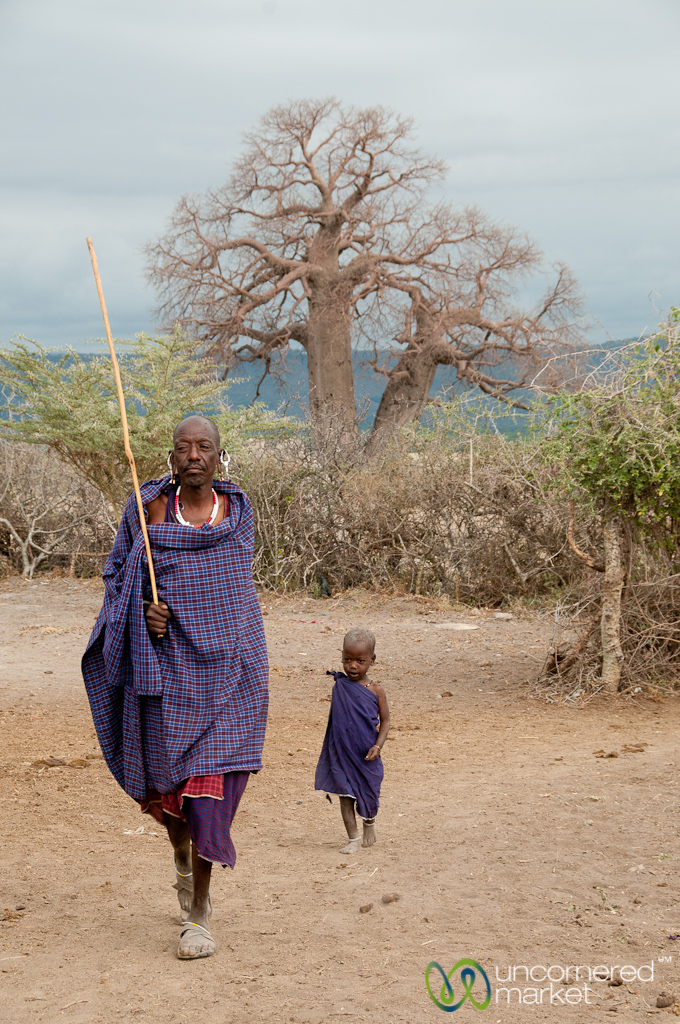 Father and son at a Maasai village in northern Tanzania.