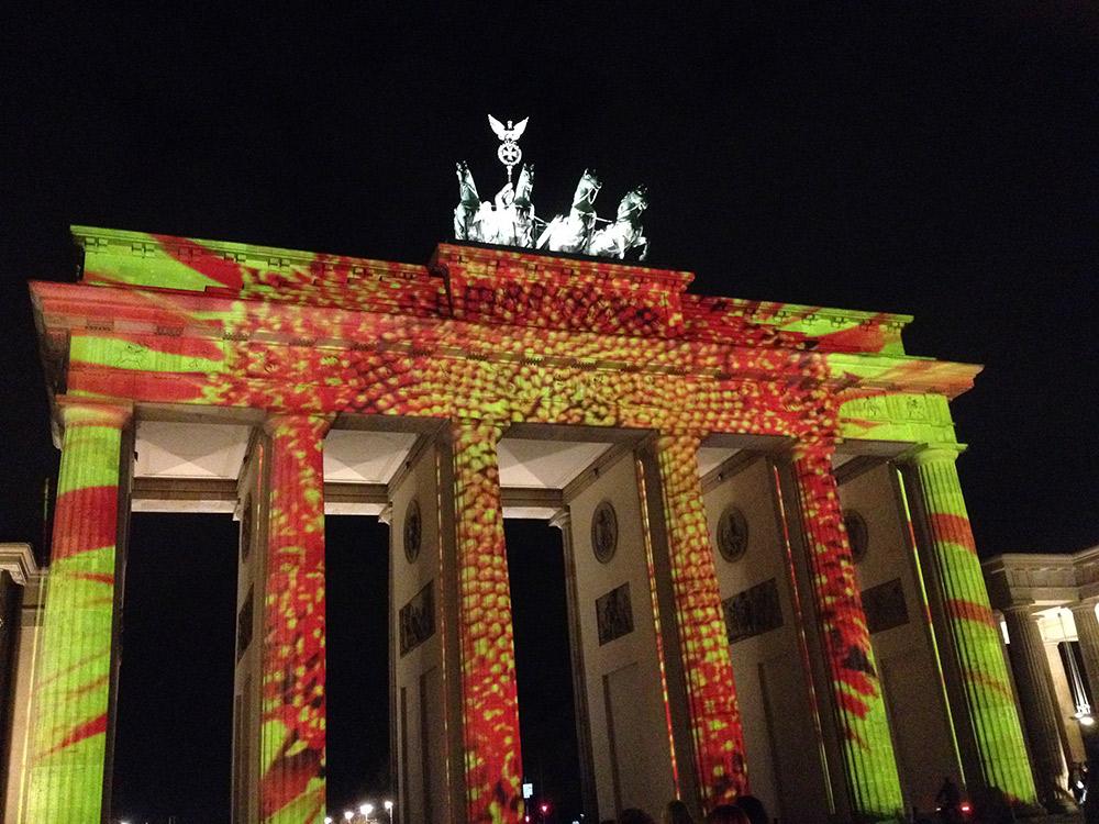 The Brandenburg Gate during the Festival of Lights held each November.