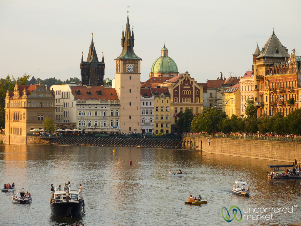 A view to Old Town Prague from the Vltava River.