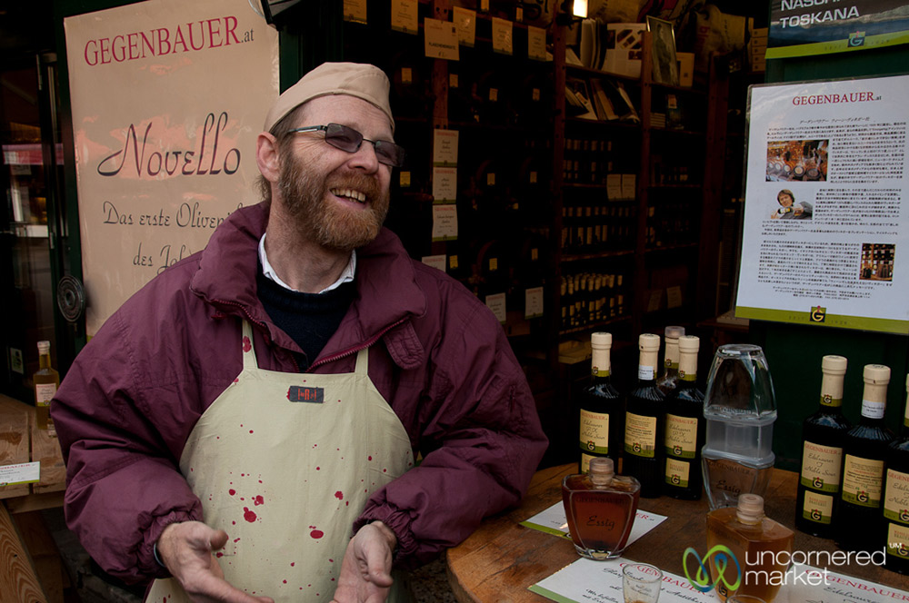 An olive oil and vinegar expert at the Naschmarkt shares his knowledge.